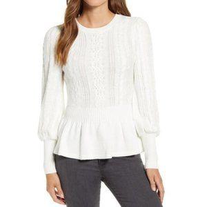 🎁 RACHEL PARCELL Cable Bobble Peplum Sweater